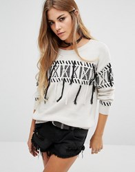Lira Oversized Festival Jumper With Tassel Detail Cream