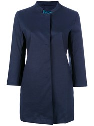 Herno Button Up Coat Blue