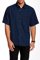 Toscano Short Sleeve Silk Blend Paisley Shirt Black