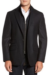 Flynt Men's Big And Tall Classic Fit Wool And Cashmere Hybrid Coat Black