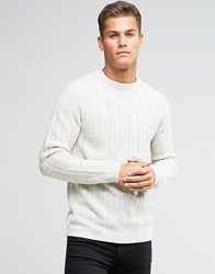 Pull And Bear Pullandbear Cable Knit Jumper In Cream Cream