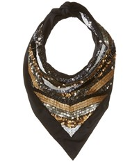The Kooples Scarf With Sequins And Pearls Black Scarves