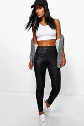 Boohoo Wet Look Camo Leggings Black