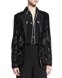 Ralph Lauren Geometric Beaded Tuxedo Jacket Black