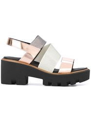 Pollini Cross Strap Sandals Women Calf Leather Polyester Polyurethane Foam Rubber 38 Metallic