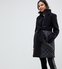 Mamalicious Quilted Coat With Post Birth Functionality Black