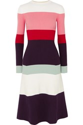 Joostricot Color Block Ribbed Cotton Blend Midi Dress Pink Gbp