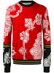 Mcq By Alexander Mcqueen Color Block Patterned Sweater Red