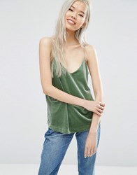 Weekday Velvet Cami Top Green