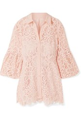 Lela Rose Crepe Trimmed Corded Lace Shirt Blush