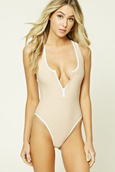 Forever 21 Zippered Racerback One Piece Nude White