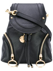 See By Chloe Fold Over Backpack Women Calf Leather Cotton One Size Black