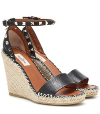 a9be34a6555 Rockstud Leather Wedge Espadrilles Black