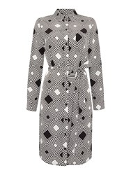 Linea Printed Woven Shirt Dress Black White