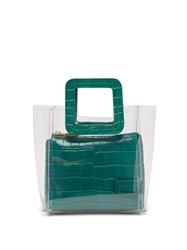 Staud Mini Shirley Pvc And Leather Tote Bag Dark Green