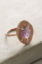 Anthropologie Amethyst Oval Ring Gold