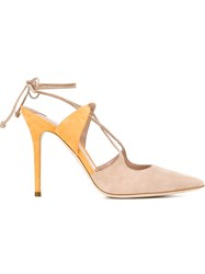 Aperlai Aperlai 'Elaphe' Ankle Tie Stiletto Sandals Nude And Neutrals