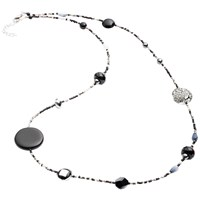 Martick Galaxy Murano Glass And Crystal Long Necklace Charcoal Silver