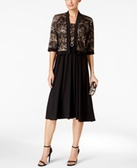 R And M Richards Lace A Line Dress Jacket Black Taupe