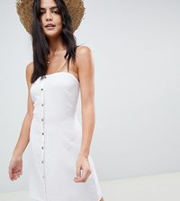 Akasa Bandeau Button Front Beach Dress White