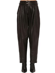 Balmain Pleated Leather Pants Black