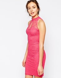 Jessica Wright Lilly High Neck Lace Dress Pink