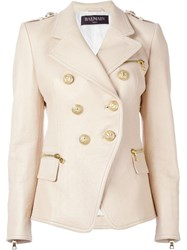 Balmain Embossed Crocodile Effect Blazer Nude And Neutrals