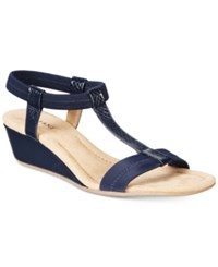Alfani Women's Voyage Wedge Sandals Only At Macy's Women's Shoes Navy Snake