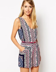 Oasis Aztec Scarf Playsuit Multi