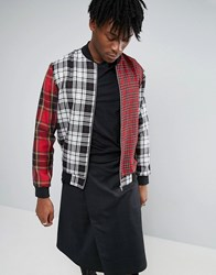 Reclaimed Vintage Tartan Bomber Jacket Black Red