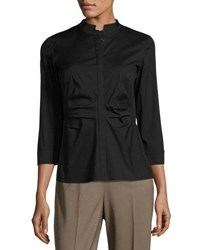 Lafayette 148 New York Fredrica Ruched Front Top Black