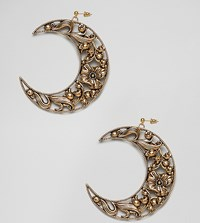 Regal Rose Gold 18K Plated Floral Cresent Earrings