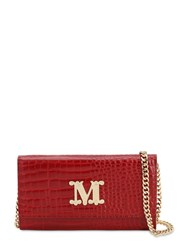 Max Mara Con 14 Embossed Leather Chain Wallet Rosso Diva
