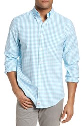 Vineyard Vines The Marls Classic Fit Stretch Check Sport Shirt Turquoise