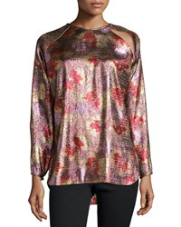 Isabel Marant Fireworks Metallic Tunic Blouse Antique Pink