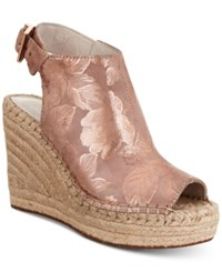 Kenneth Cole New York Women's Olivia Espadrille Peep Toe Wedges Women's Shoes Rose Gold