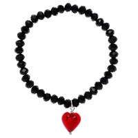 Martick Faceted Crystal Murano Heart Bracelet Red