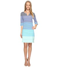 Hatley Peplum Sleeve Dress Clearwater Stripes Women's Dress Blue