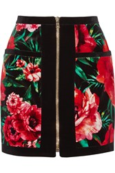 Balmain Floral Print Velvet Mini Skirt Red