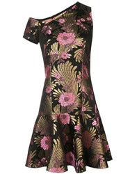 Josie Natori Jacquard Mini Dress Black