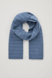 Cos Pleated Wool Scarf Blue