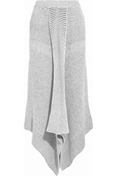 Stella Mccartney Asymmetric Stretch Wool Blend Boucle Maxi Skirt Gray
