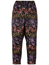 Comme Des Garcons Flower Print Tapered Cropped Trousers Pink Purple