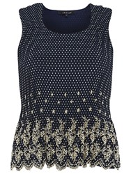 Chesca Navy Spot Print Borderie Anglaise Crush Pleat Camisole Navy
