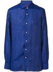 Isaia Plain Shirt Blue