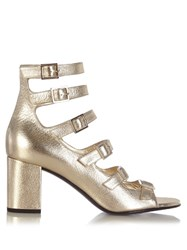 Saint Laurent Babies Buckle Strap Leather Sandals Gold