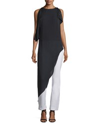 Halston Sleeveless Long Asymmetric Top With Sequins