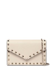 Valentino Garavani Rockstuds Leather Envelop Shoulder Bag Light Ivory