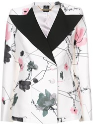 Thomas Wylde Admiral Double Breasted Jacket Silk Cotton Polyester Viscose White