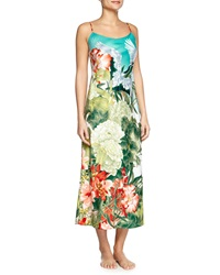 Natori Birds Of Paradise Long Satin Gown Freshwater Women's